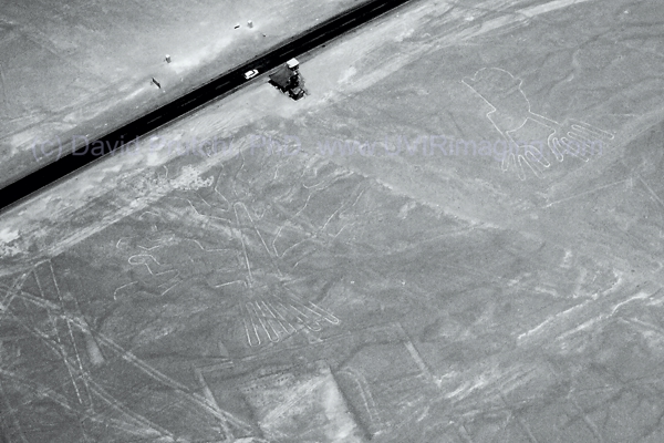 """Hands"" and ""Tree"" Nasca (Nazca) Lines next to observation platform and Panamerican Highway. NIR Image (850 nm). David Prutchi, PhD"