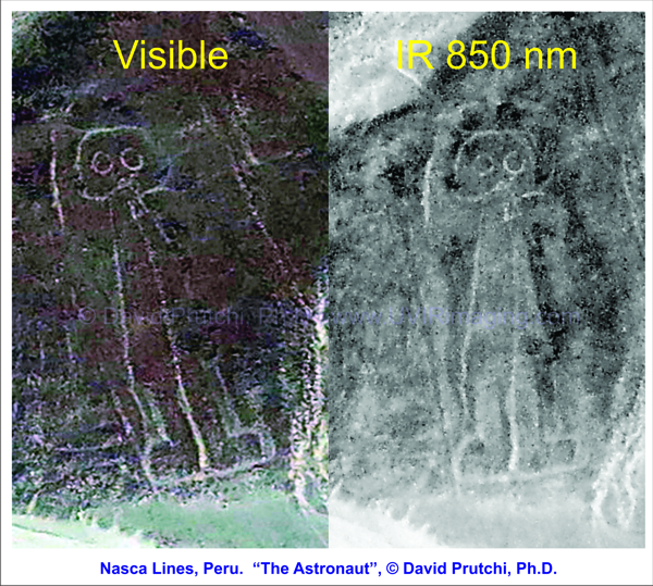 The Astronaut, Nasca, Nazca, Peru, Visible and IR images, (c) David Prutchi PhD